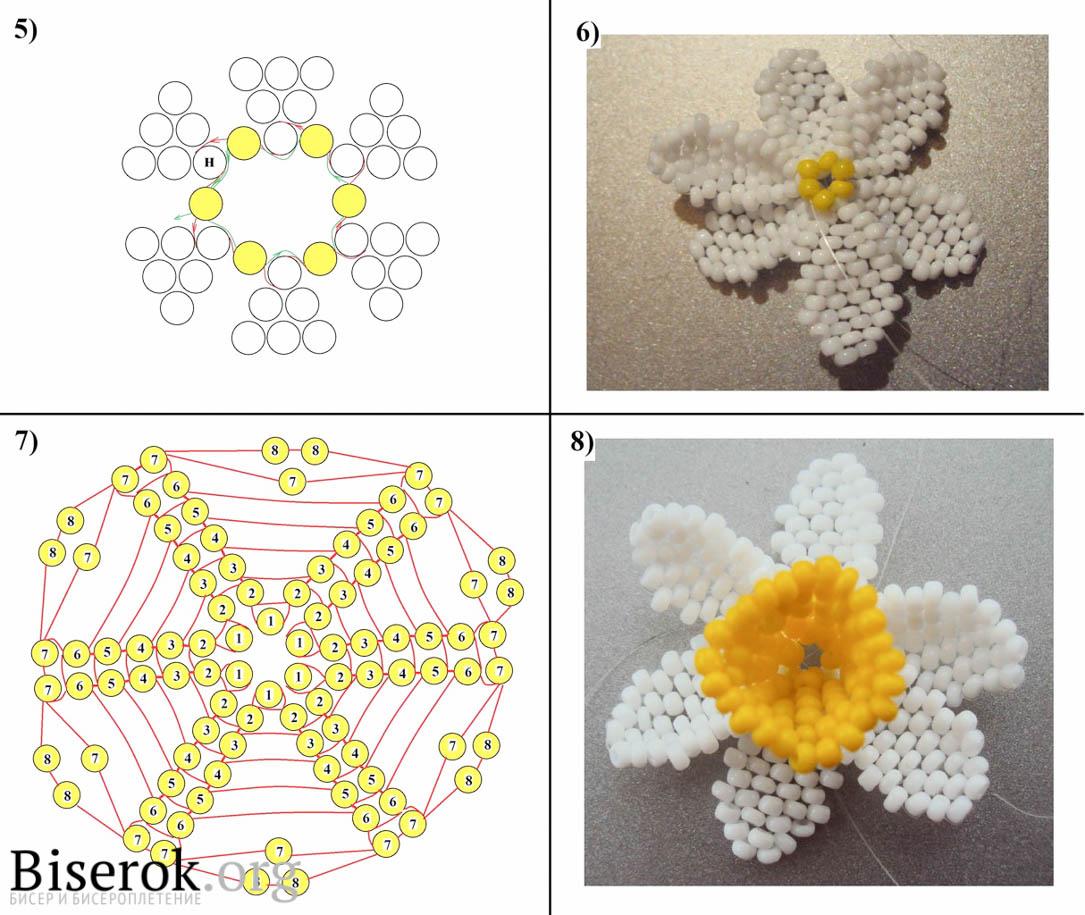 Нарцисс из бисера схемы плетения
