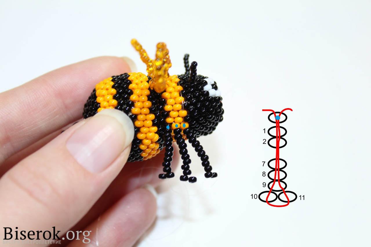 Объемная пчела из бисера схема