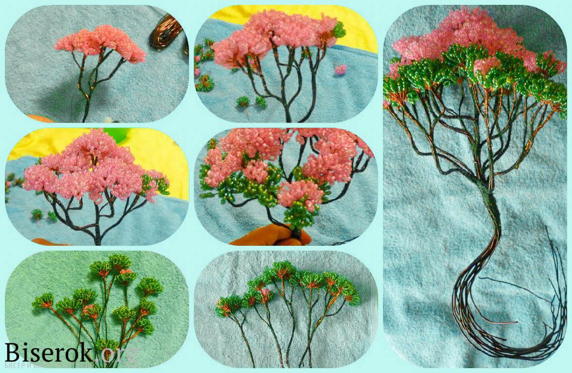 Как сделать цветущий бонсай из бисера