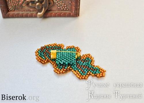 оформление изнанки броши кирпичным плетением