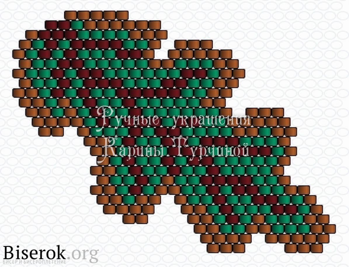Дубовые листья бисер схема