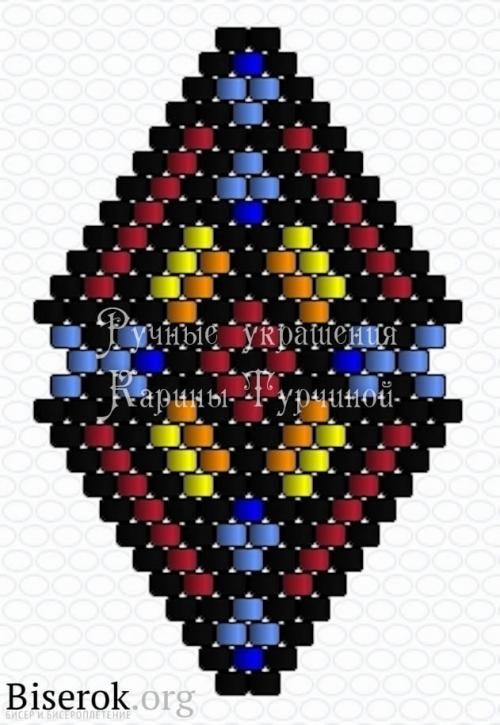 схема сережек из бисера, схема этно сережек кирпичным плетением
