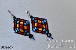яркие стильные серьги из бисера в этническом стиле