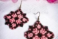 Розовые сережки из твина