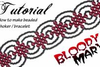 Чокер / браслет из бисера в готическом стиле «Кровавая Мэри»