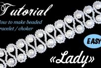 Свадебный чокер / браслет из бисера и жемчуга «Леди»